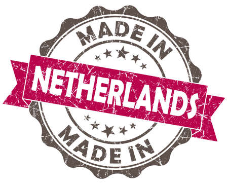 made in netherlands: made in netherlands pink grunge seal isolated on white background