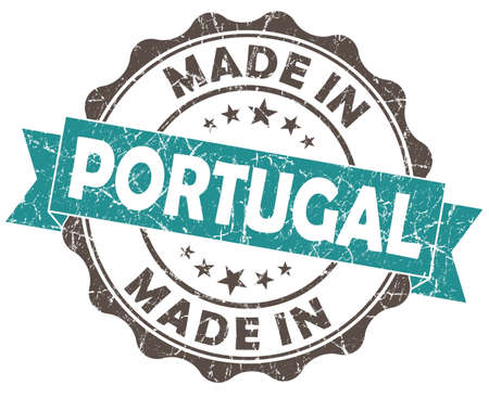 made in portugal: made in portugal turquoise grunge seal isolated on white background
