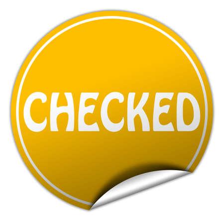 checked round yellow sticker on white background photo