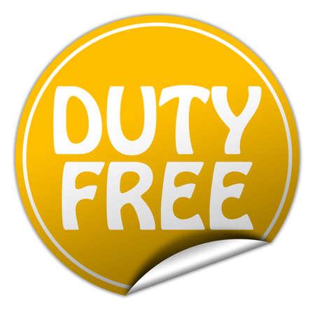reduced value: libre de impuestos pegatina amarilla redonda en el fondo blanco Foto de archivo