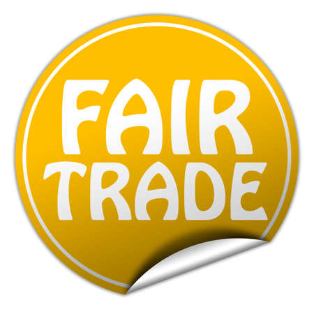 FAIR TRADE round yellow sticker on white background photo