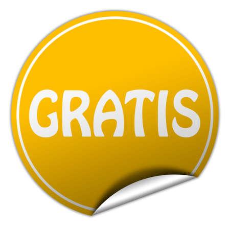 gratis: gratis round yellow sticker on white background Stock Photo
