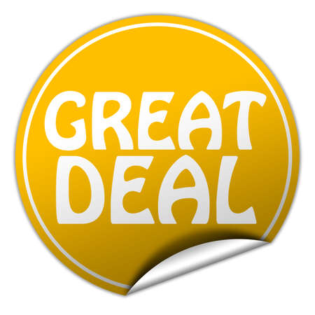 great deal round yellow sticker on white background photo