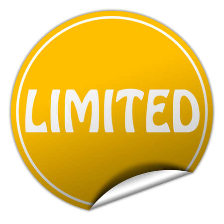 peel off: limited round yellow sticker on white background Stock Photo