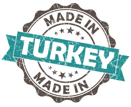 made in turkey turquoise grunge seal isolated on white background photo