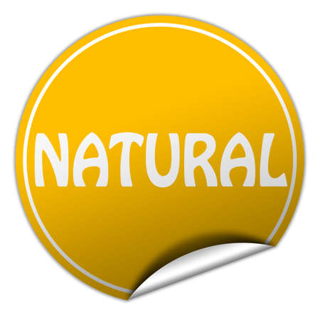 peel off: natural round yellow sticker on white background