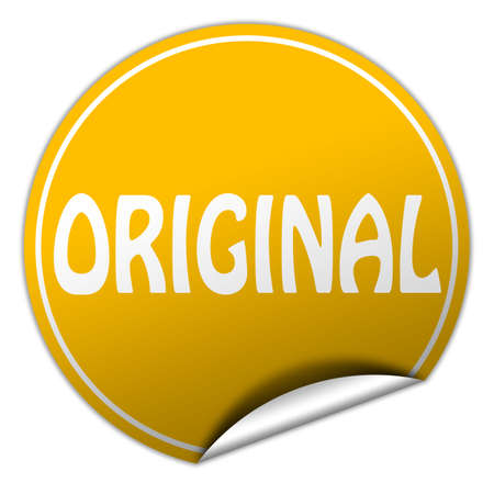 original round yellow sticker on white background photo