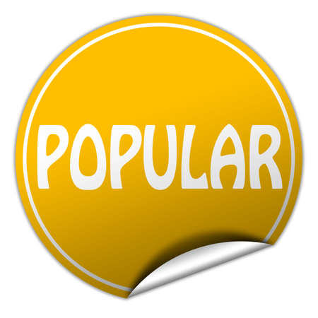 popular round yellow sticker on white background photo