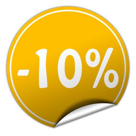 peel off: discount round yellow sticker on white background