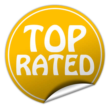 top rated round yellow sticker on white background photo