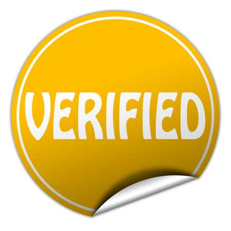 verified round yellow sticker on white background photo