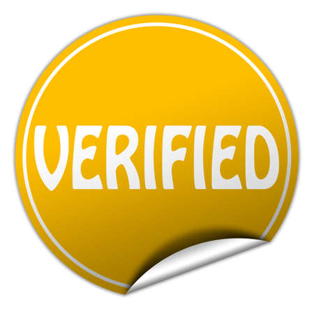 verifying: verified round yellow sticker on white background