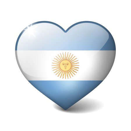 Argentina 3d glass heart with realistic shadow isolated on white photo