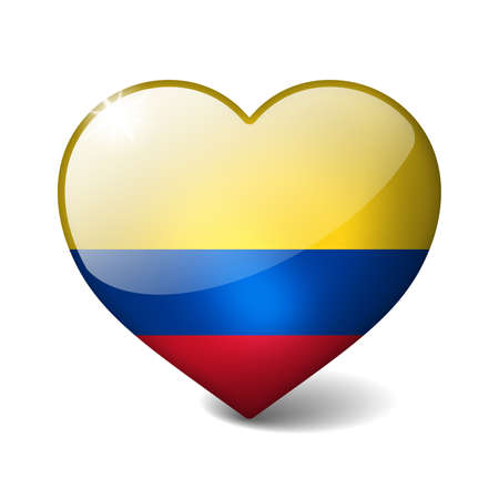 Colombia 3d glass heart with realistic shadow isolated on white photo