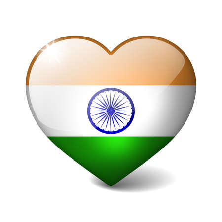 india 3d: India 3d glass heart with realistic shadow isolated on white