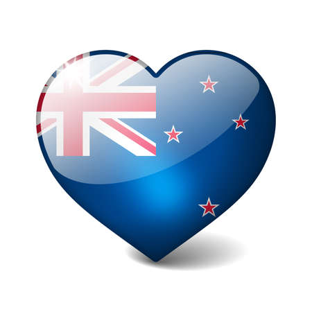New Zealand 3d glass heart with realistic shadow isolated on white photo