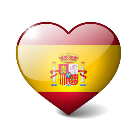 Spain 3d glass heart with realistic shadow isolated on white photo