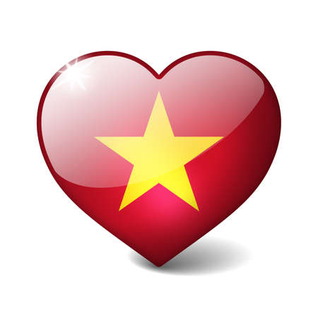 Vietnam 3d glass heart with realistic shadow isolated on white photo