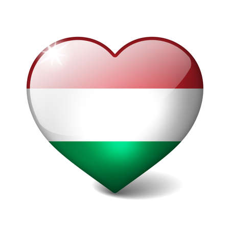 Hungary 3d glass heart with realistic shadow isolated on white photo