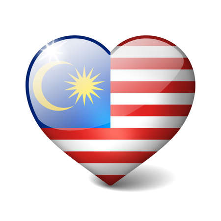 Malaysia 3d glass heart with realistic shadow isolated on white photo