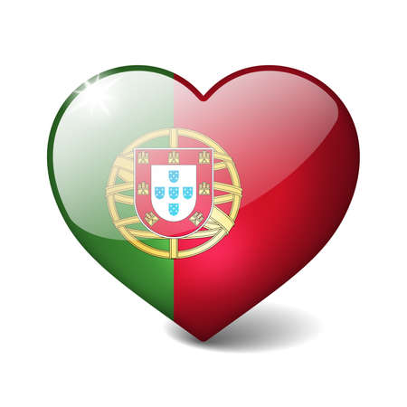 Portugal 3d glass heart with realistic shadow isolated on white photo