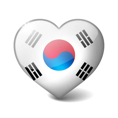 South Korea 3d glass heart with realistic shadow isolated on white photo