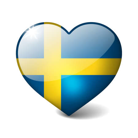 Sweden 3d glass heart with realistic shadow isolated on white photo