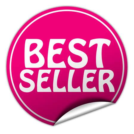 Best seller round pink sticker on white background photo