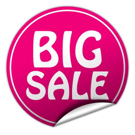 peel off: Big sale round pink sticker on white  Stock Photo