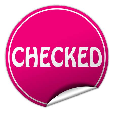 checked round pink sticker on white  photo
