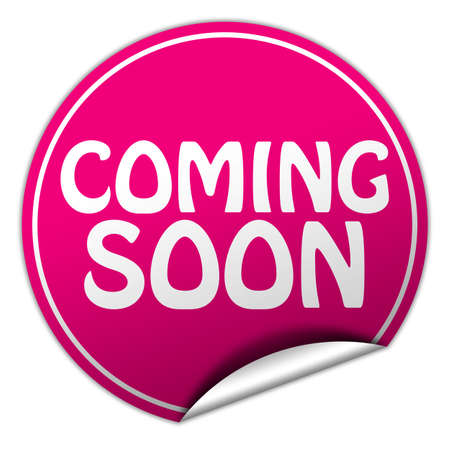 coming soon round pink sticker on white background Stock Photo