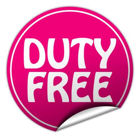 peel off: duty free round pink sticker on white background