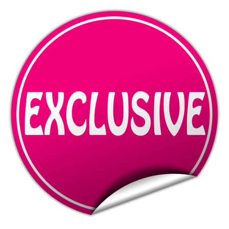 EXCLUSIVE round pink sticker on white background photo