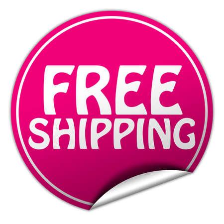 Free shipping round pink sticker on white background