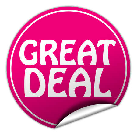 great deal round pink sticker on white  photo