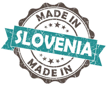 made in SLOVENIA blue grunge seal Stock Photo