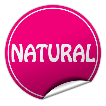 peel off: natural round pink sticker on white background