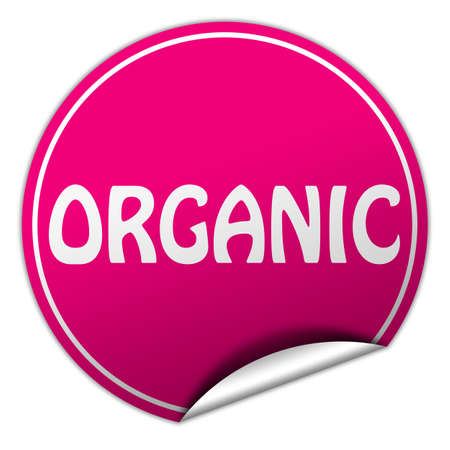 organic round pink sticker on white background photo