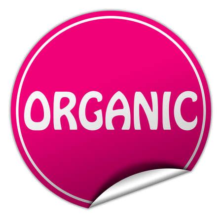 peel off: organic round pink sticker on white background