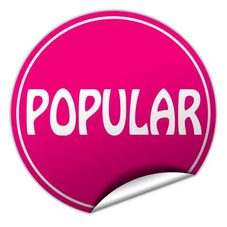 popular round pink sticker on white background photo