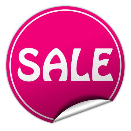 sale round pink sticker on white  photo