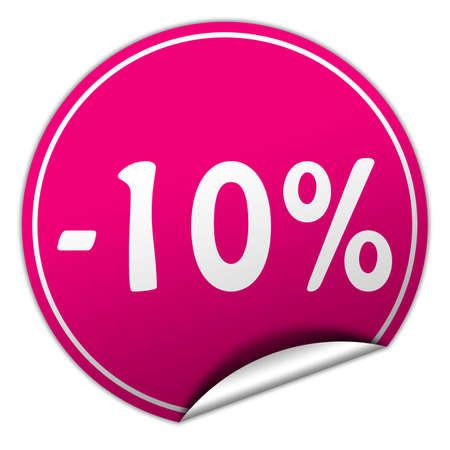 ten best: discount round pink sticker on white  Stock Photo
