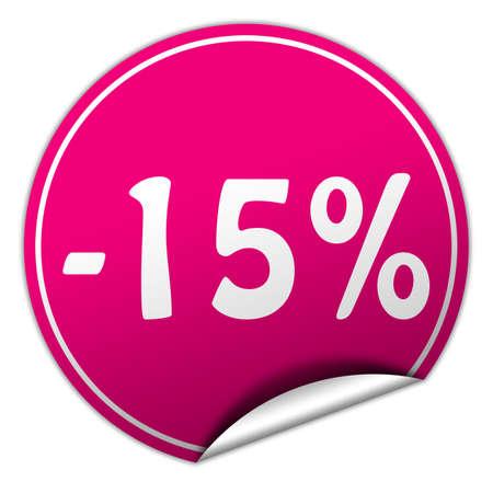 discount round pink sticker on white background photo