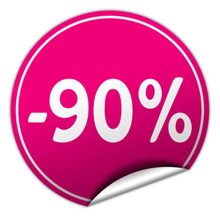 peel off: discount round pink sticker on white  Stock Photo
