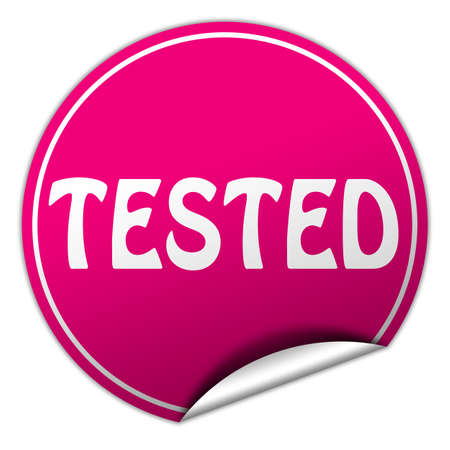 endorsed: tested round pink sticker on white  Stock Photo