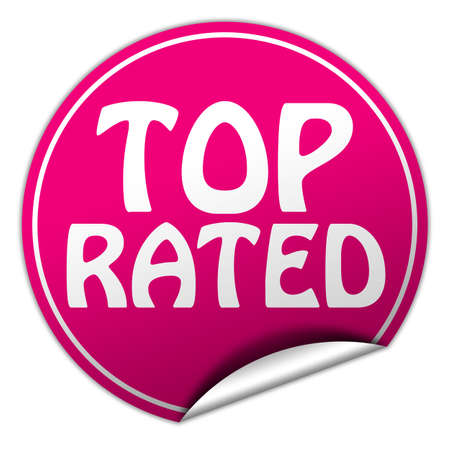 top rated round pink sticker on white  photo