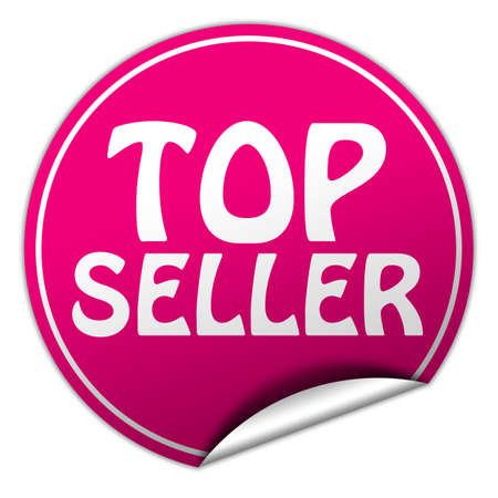 peel off: top seller round pink sticker on white background Stock Photo