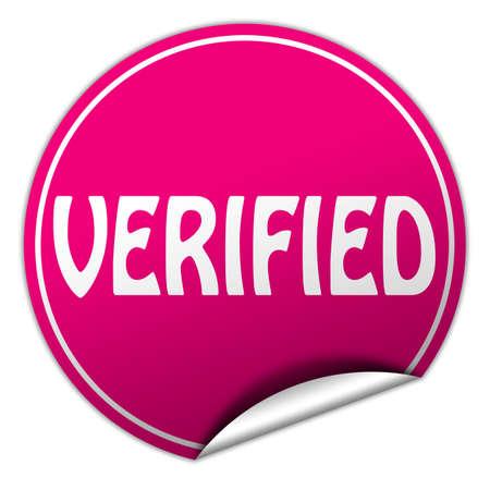 verified round pink sticker on white background photo