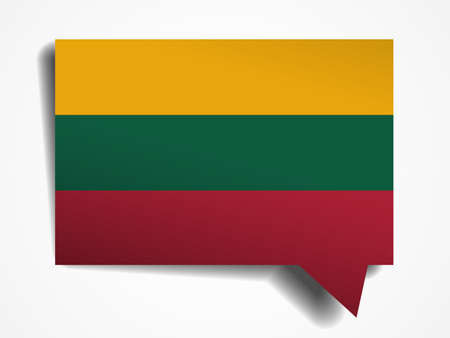 lithuania flag: Lithuania flag paper 3d realistic speech bubble on white background