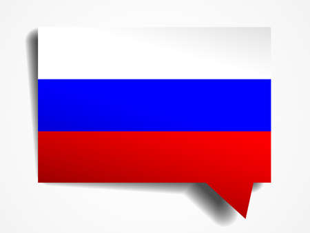 foreign national: Russia flag paper 3d realistic speech bubble on white background